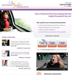 Hollywood Psychics website preview